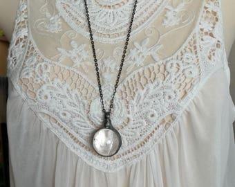 Quartz Sphere Silver Necklace Jewelry Healing Quartz Pendant, Mineral Pendant, Bohemian Necklace Gypsy Necklace,Quartz Jewelry Bohemian gift