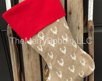 Beige Rudolph Christmas Stocking, Rudolph Stocking, Rustioc Stocking, Rustic Christmas Stocking, Farmhouse Christmas Strocking, Christmas