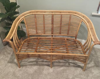 Vintage Rattan Loveseat / Settee. Super Light, Sturdy U0026 Very Comfy. Put Your