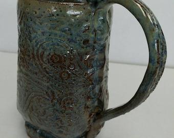 One of a kind hand built pottery mug