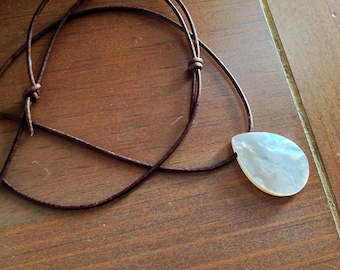 Mother Of Pearl Pendant Leather Necklace, Long Adjustable Necklace