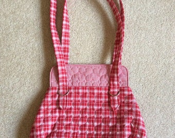 Red checked purse with quilted hearts valentines handbag