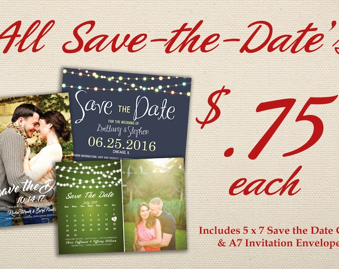Affordable Save the Date Cards Printed with Envelopes - Photo Card, Calendar, Postcard, Wedding Announcement, Customizable, Cheap, Elegant