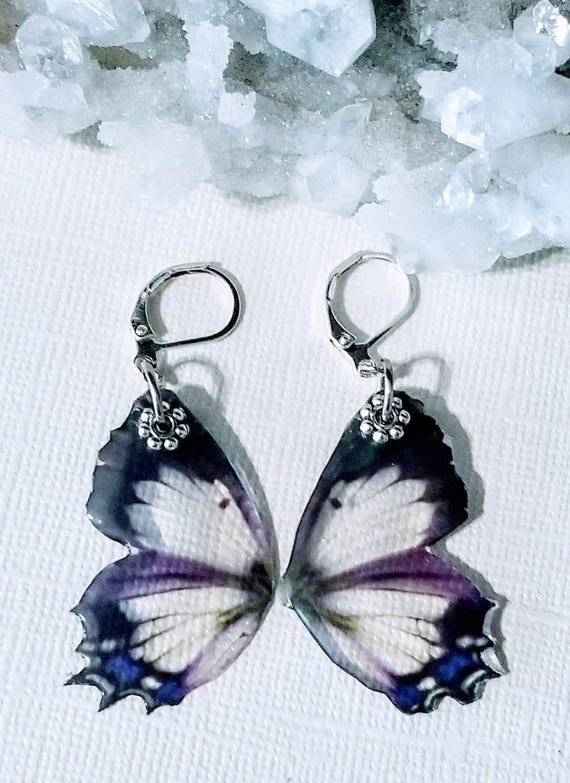 Black and Purple Fairy Wing Earrings