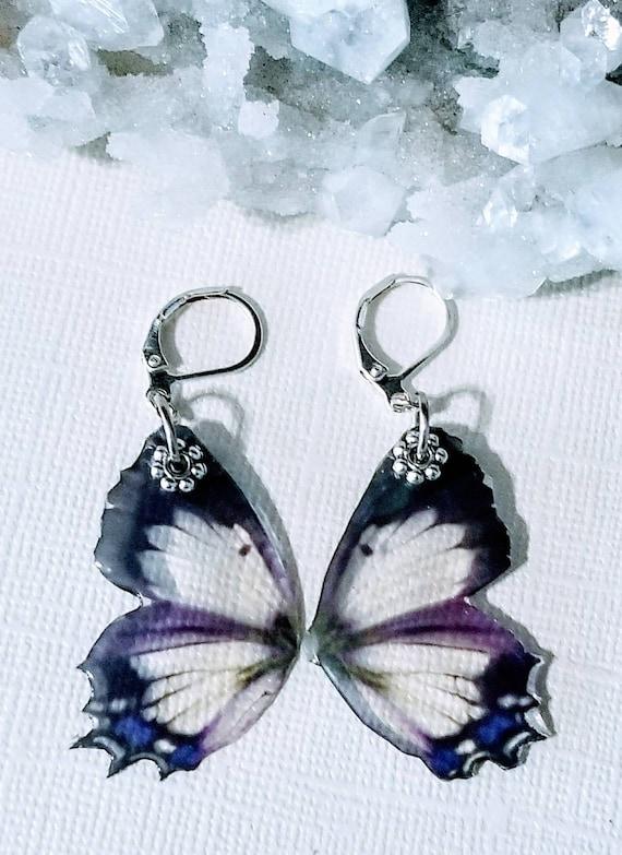 Black and Purple Fairy Wing Earrings