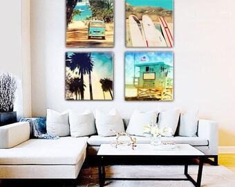 Beach Canvas Wall Art, Retro Surf Canvas Wall Art, Surfing Art, California Beach Home Decor, Surfboards, VW Bus, Lifeguard Tower