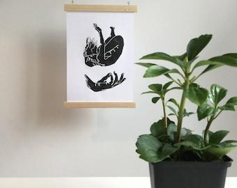 "Handmade Linocut print ""falling"""