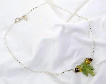 Organic Green Kyanite - Lemon Quartz - Organic Garnet Sterling Silver Chain Necklace