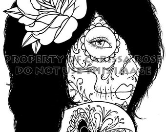 Digital Download Print Your Own Coloring Book Outline Page - Harmony by Carissa Rose - Day of the Dead Sugar Skull Girl Tattoo Flash Design