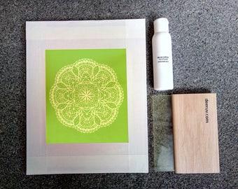 Screen printing kit, Siebdruck set, la sérigraphie, screenprinting for beginners, screenprinting, ready to print at home, mandala