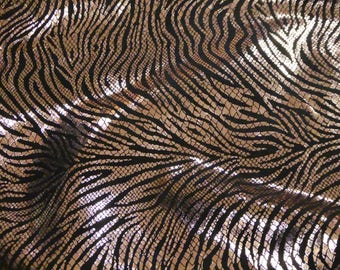 "Leather 12""x12"" Rose Gold GLAM TIGER / ZEBRA Metallic with Black Stripe Cowhide 2.5 oz / 1 mm PeggySueAlso™ E2555-01"