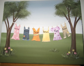 Personalized Clothesline Painting 8 x 10 Backyard/ Custom Wall Art/ Laundry Art