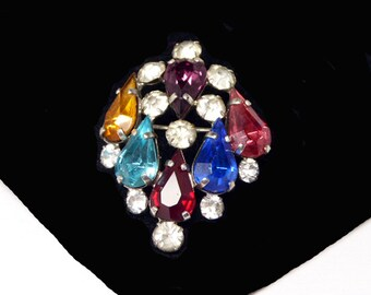 Czechoslovakian Rhinestone Brooch - Vintage Multi Colored Rhinestones - Signed Czecho Art Deco Era 1930s Faceted Crystal Glass  Pin