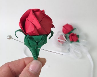 Origami Paper Flower Corsage & Boutonniere Keepsake Red Rose, Quinceanera, Prom, Wedding, Birthday Corsage and Buttonhole Flower