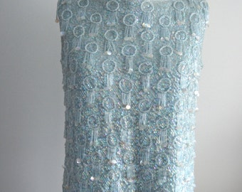 Pastel Blue RECALIA Womens Blue Beaded SEQUINED Sweater Vest Runway Top Blouse L