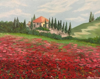 Poppy field, Tuscan- original oil painting 12/16 inch