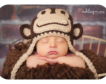 Crochet Pattern, Monkey Hat Pattern - Instant Download Crochet Pattern