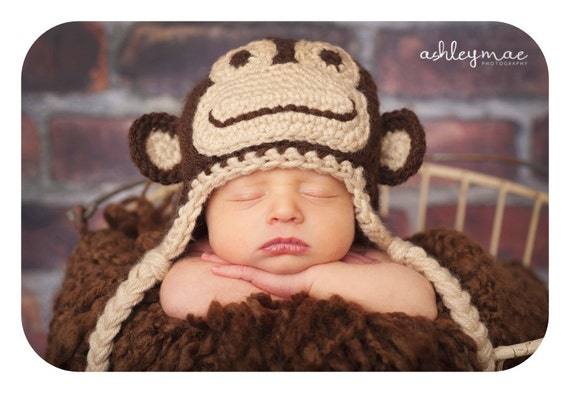Crochet Pattern Monkey Hat Pattern Instant Download Crochet