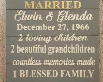 50th Anniversary Wood Sign