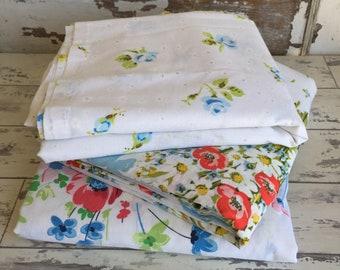 Vintage Pequot Flat Sheet - Blue Roses - Twin Cotton Dacron
