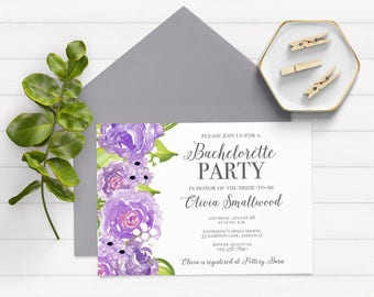 Bachelorette Party Invitation, Purple Bachelorette Party Invitations, Bachelorette Party Invites, Bridal Shower Invitations