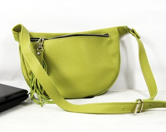 Green Leather Belt bag, LIGHT GREEN, Leather Pocket Belt, Fanny Pack , Hip Bag, Leather Pouch, Green Fanny Pack, Leather Woman Bag, NO 22