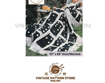 "1970s, tassel hem, large bold dominoes afghan throw in aran - 55"" x 68"" - Vintage PDF Crochet Pattern 1676"