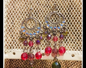 Beaded Drop Earrings boho style with swarvoski ab crystal rhinestones