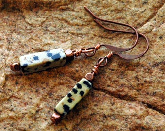 Dalmation Jasper Stone Bead Earrings, Copper Accents, Simple, Natural Small Earrings You Can Wear Every Day,  Black & Brown Speckles