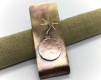 The bomb hand made brass and copper money clip