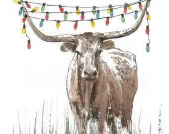 Texas Longhorn Christmas Lights Holiday Card