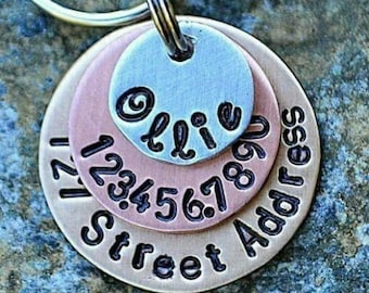 Dog Tags - Pet ID Tags - Cat Tag - Pet Accessories - Collar Tags - Pets - Pet Tag - Custom ID - Mixed Metals includes street address