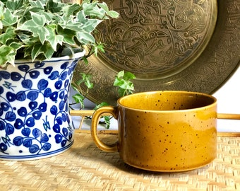 Vintage Yellow Speckled Stoneware Soup Mug Made in Japan