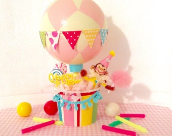 Birthday Monkey in Hot Air Balloon/Cake Decoration/Centerpiece/Decoration