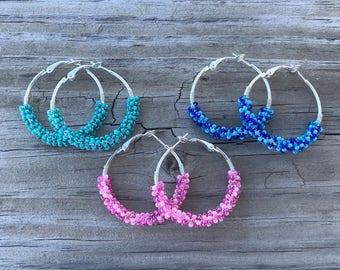 Half-Bead wrapped earrings