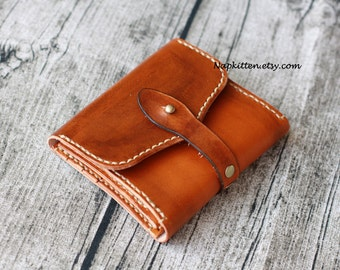 Leather Wallet Men Womens Leather Wallet Leather trifold Wallet Zippered leather wallet Coin purse Hand-dyed Hand stitched by Napkitten