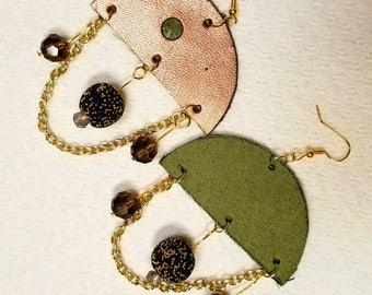 Shimmering copper vinyl chandelier earrings