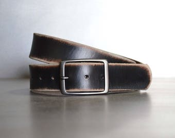 Distressed Black Leather Belt by FosterWeld