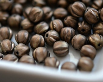 Ground Coffee - Premium Czech Glass Beads, Opaque Matte Bronze, Bronze Wash, Baby Melon Rounds 6mm - Pc 25