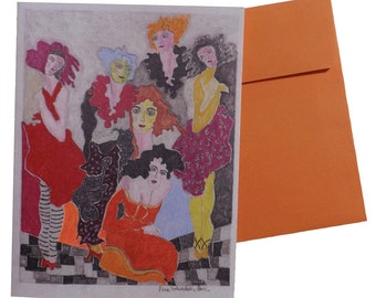 Original art note card  'Orange Hair'