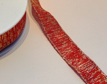 50 cm Ribbon synthetic red and gold lurex 25 mm