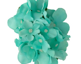 10% off with the code BDAY10  Aquamarine Hydrangea Hair Flower