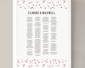 Printable Seating Chart Poster Template  | INSTANT DOWNLOAD | Confetti | Word or Pages | 18x24 | Editable Artwork Colors