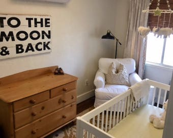 Rustic Nursery Decor- To The Moon and Back Decor - Boys Room Decor - Play Room Decor  - Nursery Wall Art - Rustic Wood Sign