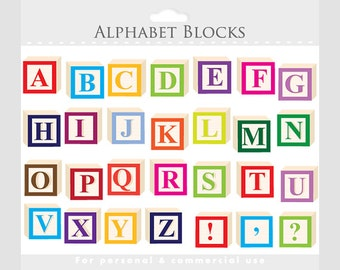 Alphabet clipart - letter blocks clip art, letterblocks clipart, wooden blocks, alphabet blocks, colorful, for personal or commercial use