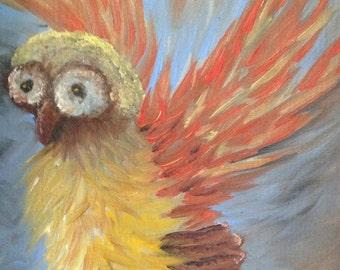 Owl in flight original oil painting by Kansas artist.  Vintage like owl