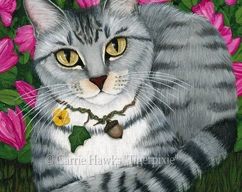 Cat Portrait Tabby Cat Art Silver Tabby Cat Painting Garden Azalea Flowers Pet Portrait Cat Art Print 5x7 Cat Lovers Art