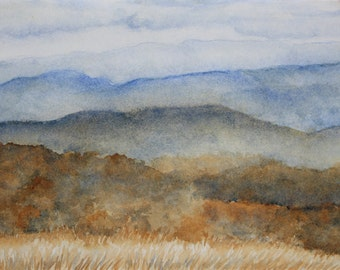 Fall in the Great Smoky Mountains Watercolor Fine Art Print - 10x13