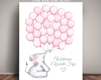 "Elephant Nursery Art for Elephant Baby Shower ""Guest Book"" Alternative, Balloon Sign-in - Printed on Premium Fine Art Paper 2018x"