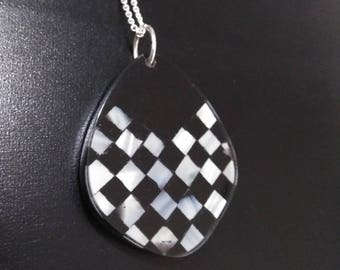 Black and abalone shell checkerboard  pendant on adjustable silver chain